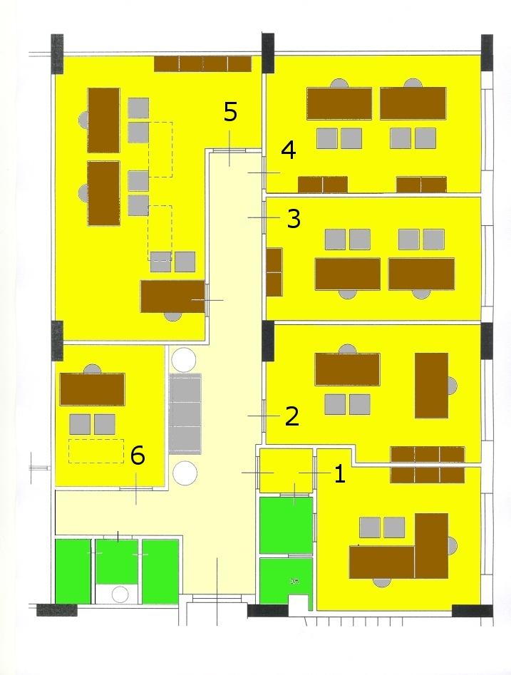 Ufficio arredato 170 mq postazioni di lavoro gruppi di for Disegni di uffici di garage